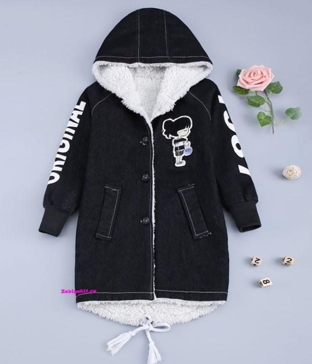 Джинсовая куртка - пальто для девочки