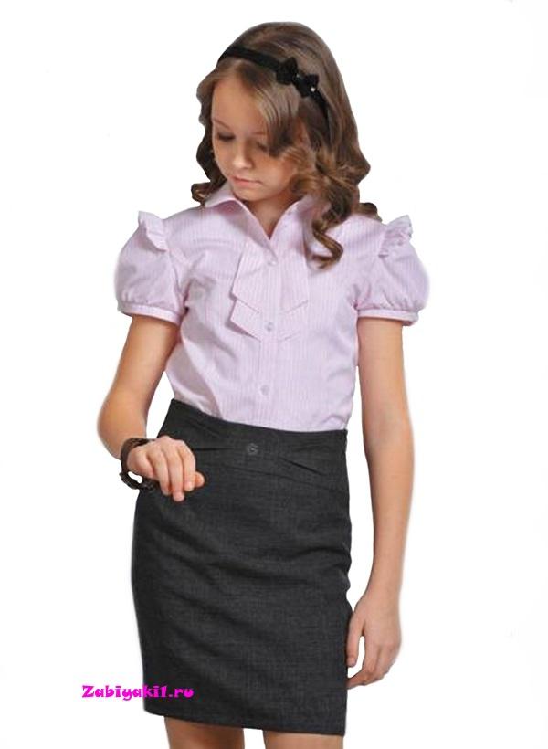 Прямая юбка для девочки серого цвета Гермиона