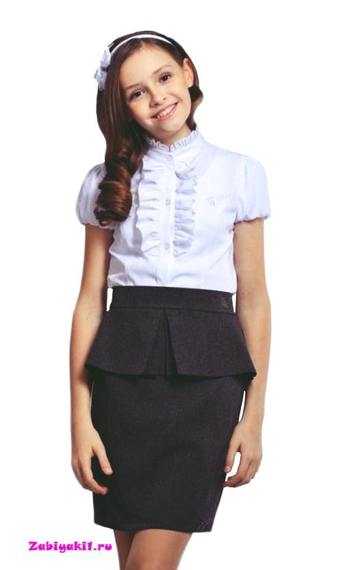 Школьная юбка с баской для девочки подростка Гермиона-модница