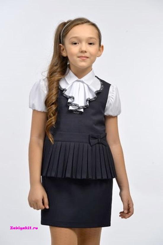 Сарафан серый для девочки в школу Гермиона-модница