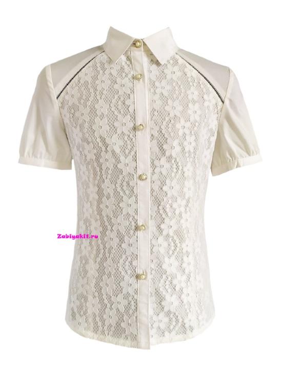 Кружевная блузка с короткими рукавами для девочки рост 134-164 , Deloras